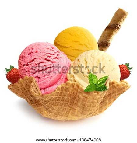 ice cream in a bowl with apricots and mint on a white backgroun stock photo © vlad_star