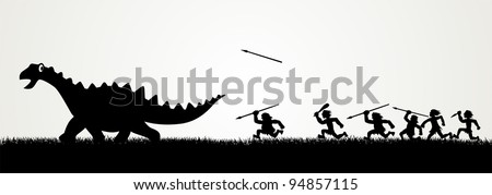 Stock photo: Black And White Caveman Cartoon Character Running With A Torch