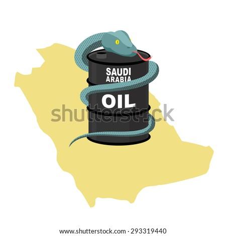 Vat olie Saoedi-Arabië kaart slang rond Stockfoto © popaukropa