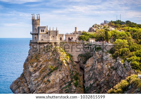 Crimea landmark symbol. Famous building of Crimea Swallow's Nest Castle. Travel Russia famous palace Stock photo © Terriana