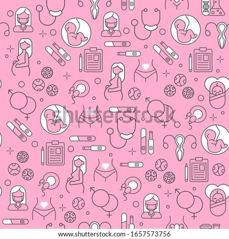 Newborn baby pattern seamless. embryo background vector illustra Stock photo © popaukropa
