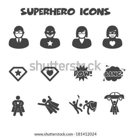 Stock fotó: Szuperhős · piktogram · szett · szuperhős · felirat · szimbólum