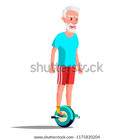 Old Man On Hoverboard Vector. Riding On Gyro Scooter. One-Wheel Electric Self-Balancing Scooter. Pos Stock photo © pikepicture