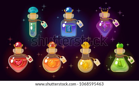 Set of magic potions in glass flasks isolated on pink and purple background. Sketch for stickers, ca Stock photo © Lady-Luck