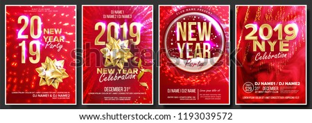 2019 party flyer poster vector happy new year night club celebration musical concert banner desi stock photo © pikepicture