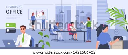 Gente che parla lavoro computer open spazio ufficio Foto d'archivio © makyzz