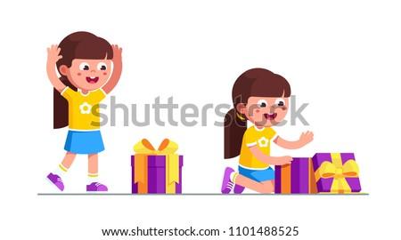 Dziewczynka otwarcie dar christmas polu wektora Zdjęcia stock © pikepicture