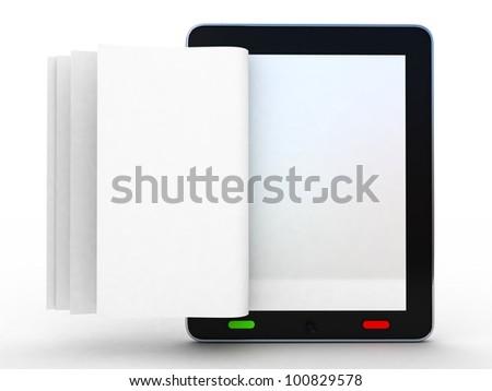 Digitális könyvtár táblagép nyitott könyv képernyő 3D Stock fotó © adamr