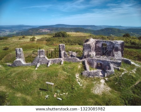 Aerial picture from a ancient castle ruin from Hungary on the volcano hill Csobanc, near lake Balato Stock photo © digoarpi