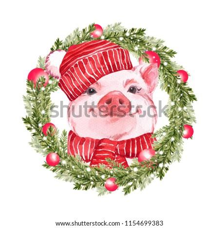 Foto stock: Acuarela · rojo · Navidad · pelota · imagen · cerdo