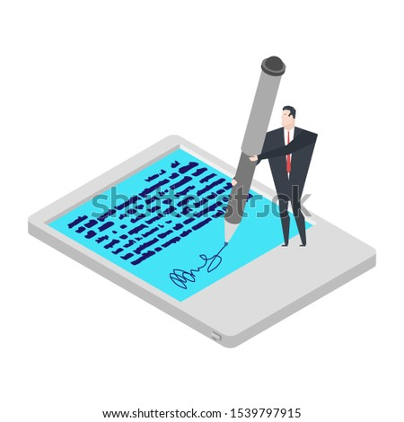 Electronic signature tablet. Little Businessman and Big Pen. Pro Stock photo © MaryValery