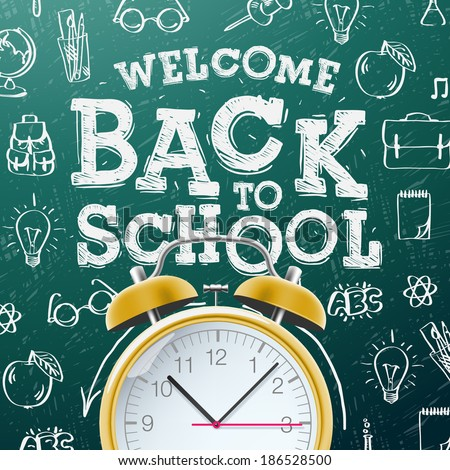 Back to school sale design with alarm clock, chalkboard and typography lettering on wood texture bac Stock photo © articular