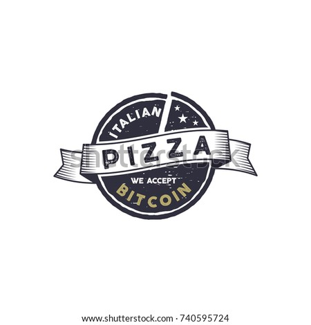 Italian Pizza for Bitcoin emblem. We accept BTC logo design. Digital assets for real goods concept.  Stock photo © JeksonGraphics
