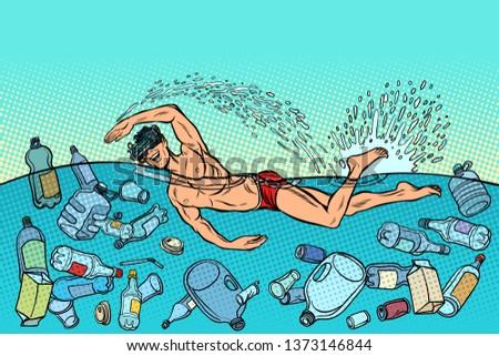 Oceaan verontreiniging plastic prullenbak ecologie virtueel Stockfoto © studiostoks