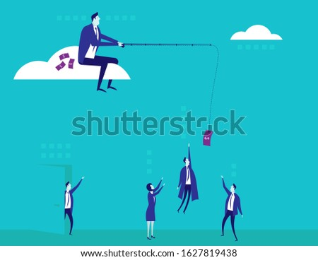 Businessman is fishing. boss is sitting with fishing rod  on doc Stock photo © MaryValery
