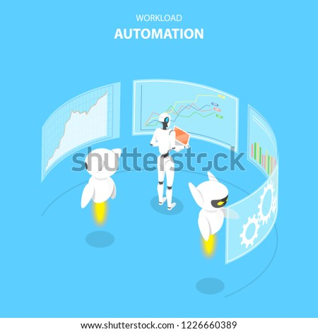 Isometric flat vector concept of workload automation, job scheduling. Stock photo © TarikVision