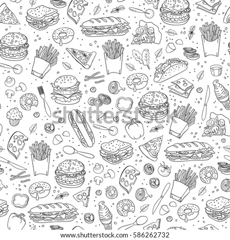 fastfood hand drawn doodles seamless pattern fast food background stock photo © balabolka