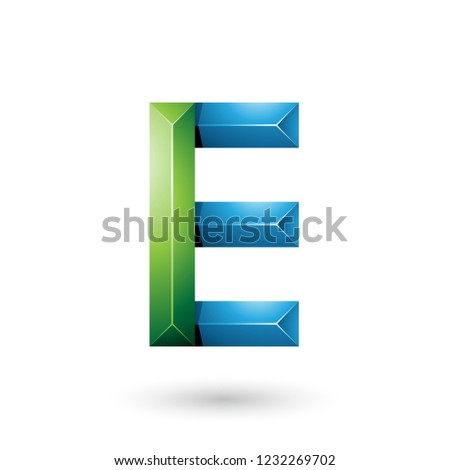 green and blue pyramid like geometrical letter e vector illustra stock photo © cidepix