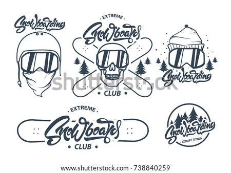 Mountain Snowboard logo. Snowboarder glasses emblem. Winter graphic illustration, T-Shirt print. Cus Stock photo © JeksonGraphics