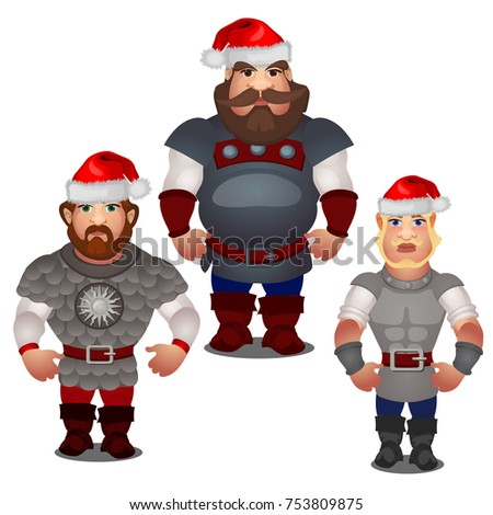 Set of epic heroes of Russian folklore and folk tales with red hats of Santa Claus with pompom isola Stock photo © Lady-Luck