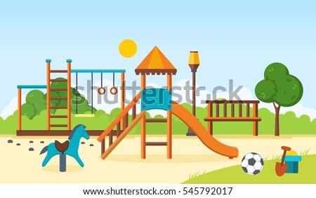Сток-фото: Swing · вектора · детский · сад · за · пределами · парка · площадка