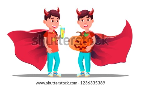 little boy with devil horns cloak and holding pumpkin in hands vector halloween isolated illustrat stock photo © pikepicture