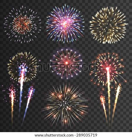 Fireworks Set Vector. Festive Carnival Night Sky. Bursting Sparkling Star Petard Light Effect. Holid Stock photo © pikepicture