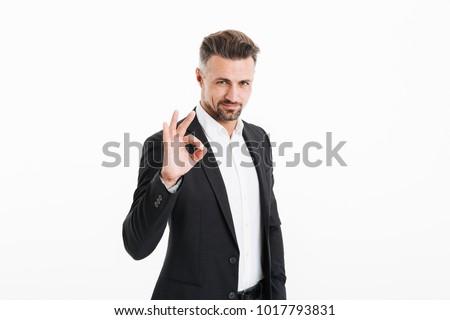 Portret uśmiechnięty biznesmen formalny garnitur posiedzenia Zdjęcia stock © deandrobot