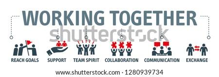 Collaboration concept banner header. Stock photo © RAStudio