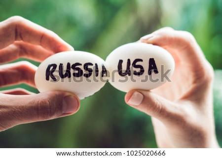 Eieren Rusland Verenigde Staten strijd gebroken conflict Stockfoto © galitskaya