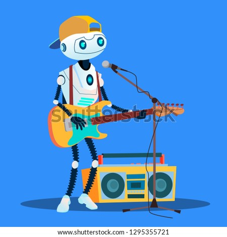 robot playing guitars and singing at the street vector isolated illustration stock photo © pikepicture