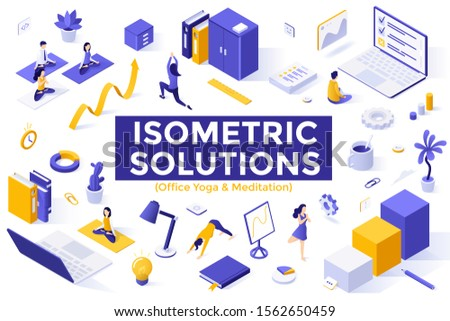 Meditation at work - modern colorful isometric vector illustration Stock photo © Decorwithme