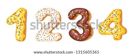 Donut icing nummers cijfers doopvont donuts Stockfoto © MarySan