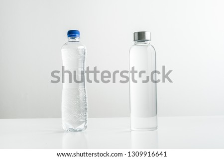 Zero waste concept Use a plastic bottle or a glass bottle. Zero waste, green and conscious lifestyle Stock photo © galitskaya