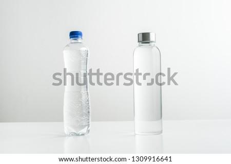 Sıfır atık plastik şişe cam yeşil Stok fotoğraf © galitskaya