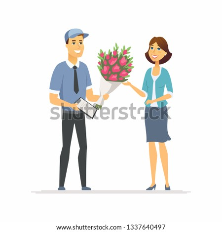 Flower delivery - modern vector cartoon people characters illustration Stock photo © Decorwithme