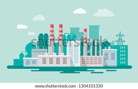 промышленных · отходов · воды · загрязнения · иллюстрация · завода - Сток-фото © decorwithme