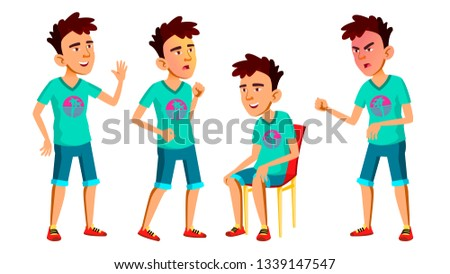 Asian Teen Boy Poses Set Vector. Adult People. Casual. For Advertisement, Greeting, Announcement Des Stock photo © pikepicture