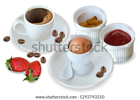 Breakfast coffee, egg, jam Vector realistic. 3d detailed menu template. Strawberry jam flavor. delic Stock photo © frimufilms