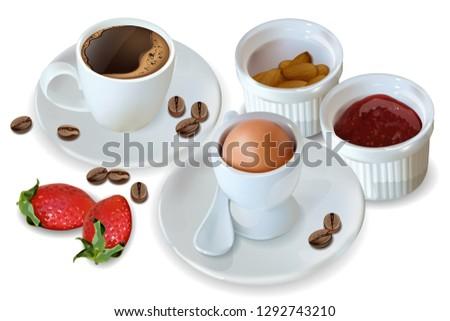 ontbijt · koffie · croissant · vector · realistisch · 3D - stockfoto © frimufilms