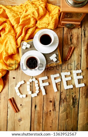 Two cups of coffee espresso near sugar cube Foto stock © Illia