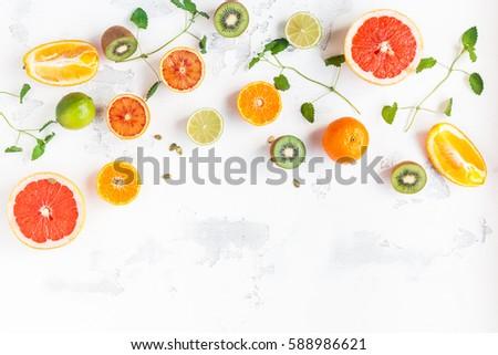 Stock photo: Fresh Citrus Salad. Vegan, vegetarian, clean eating, dieting, food concept.