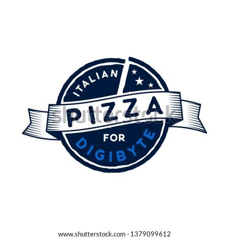 Digibyte logo. Digital asset concept. Italian Pizza for Digibyte. Crypto emblem. Blockchain technolo Stock photo © JeksonGraphics