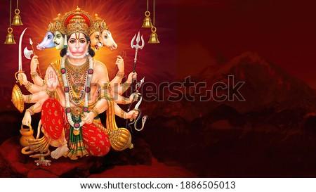 Lord Hanuman on abstract background for Hanuman Jayanti festival of India Foto stock © vectomart