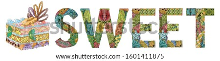Word PASTRY with piece of cake. Vector decorative zentangle object Stock photo © Natalia_1947