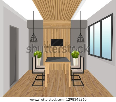 Interior design loft style Vector. Dining table. Wood panel deco stock photo © frimufilms