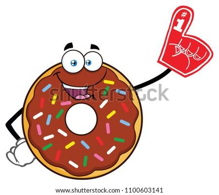 Mosolyog csokoládé fánk rajzfilmfigura visel hab Stock fotó © hittoon