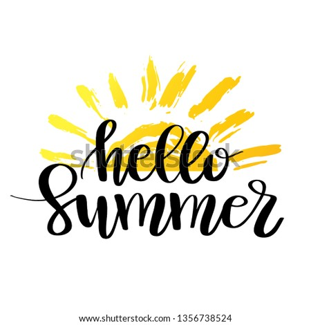 Hello Summer hand drawn lettering. logo Template. Isolated typographic design label with text and su Stock photo © ikopylov