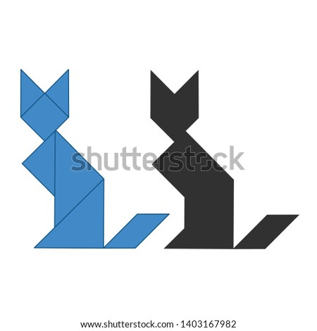 gato · tradicional · chinês · quebra-cabeça · sete - foto stock © kyryloff