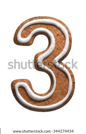 set of gingerbread cookies alphabet numbers holiday treat sweet pastries of different shapes pun stock photo © marysan